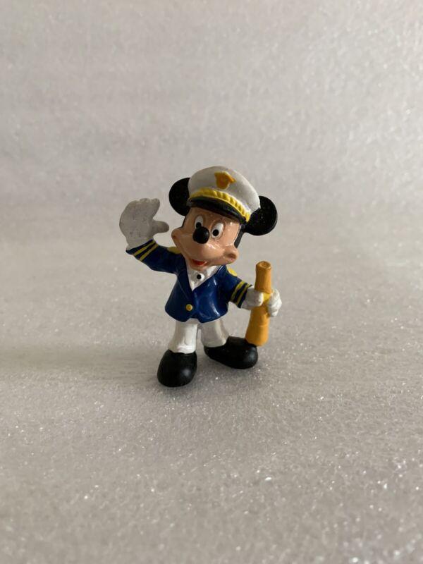 Vintage Disney Bullyland Boat Captain Mickey Mouse PVC Hat Telescope Blue Jacket