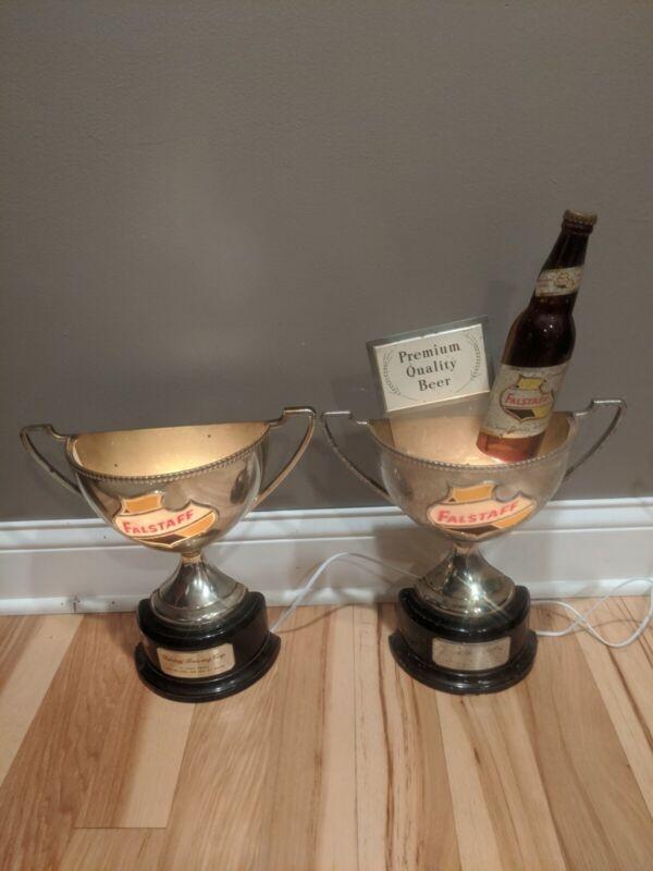 2 Vintage Falstaff Beer Trophy Cup Signs Lighted Sconce Lights