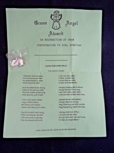 Vintage Girl Scouts Green Angel Award and Pin