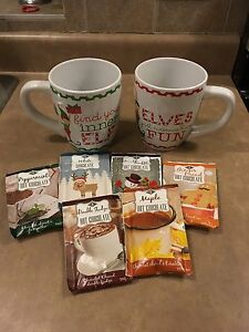 Set of 2 Elf mugs with 6 hot chocolates