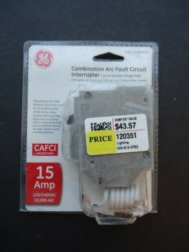 GE 15 Amp Single-Pole AFCI Circuit Breaker Combo Arc Fault THQL1115AFP2 NEW
