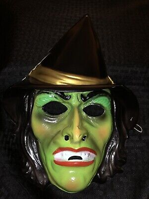 VTG 1980s Halloween Costume Plastic Witch Face Mask Neon Green, Black Hat