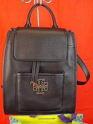 NWT TORY BURCH BRITTEN BLACK PEBBLED LEATHER REVA BACKPACK BAG $ 595
