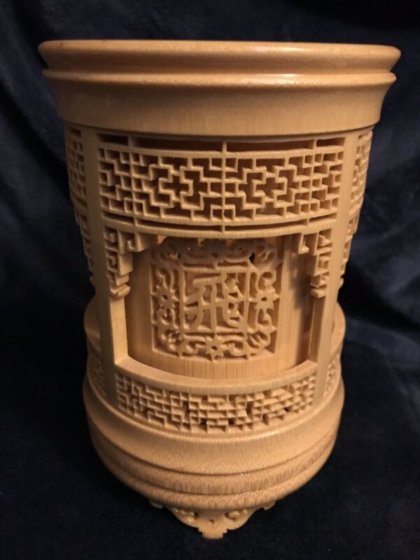 """Antique Chinese Brush Pot Hand Carved Bamboo 6.25"""""""