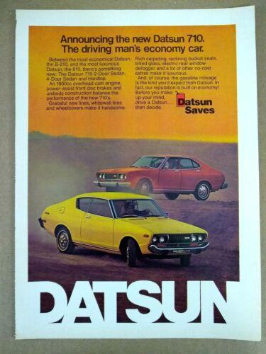 1974 Datsun 710 Hardtop 2 Door Coupe & 4 Door Sedan Full Color Magazine Ad