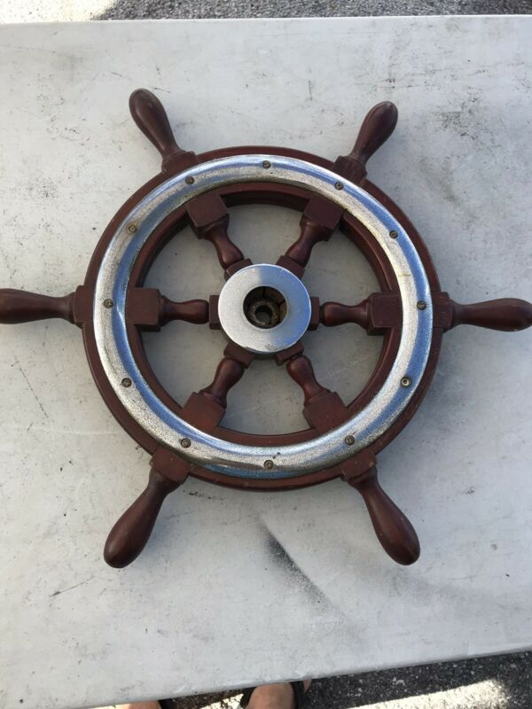 Antique Salvaged Mahogany & Chrome Helm Wheel  Ship Wheel 21 Inch