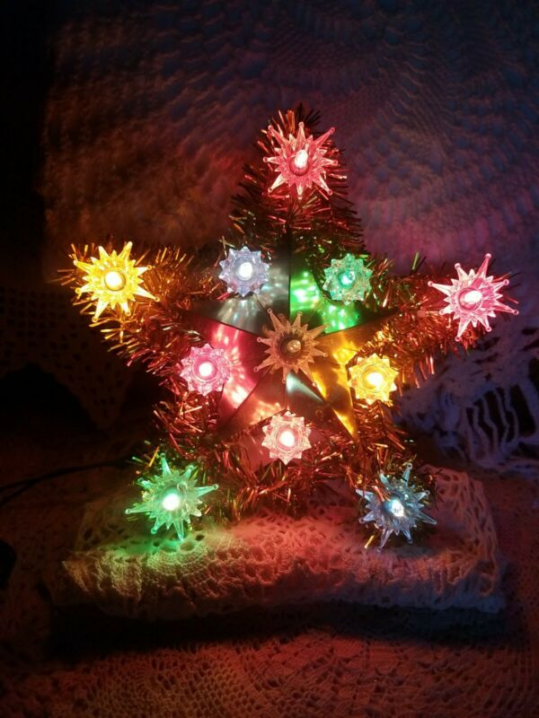 """Vintage Gold Tinsel Reflector Star Tree Topper 11 Multicolored Lights 8"""" No Box"""