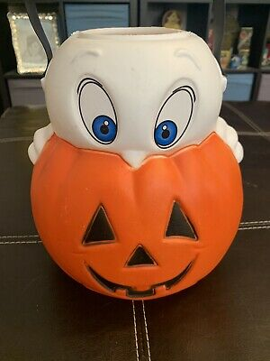 """Vintage Halloween 9"""" Empire Ghost And Pumpkin Trick-Or-Treat Blow Mold Pail"""