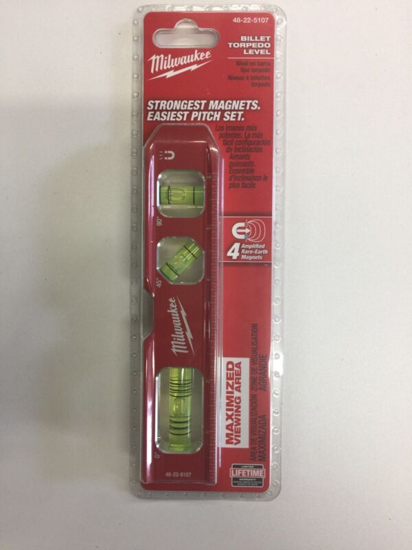"MILWAUKEE 7"" BILLET TORPEDO LEVEL 48-22-5107 New Factory Sealed"