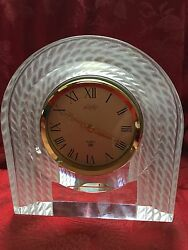 FLAWLESS Exquisite JAPAN HOYA Lofty Crystal Clear & Frosted MANTLE CLOCK