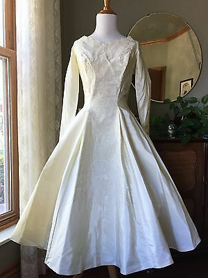 50s Ivory Dress Wedding Gown Alencon Lace Bow Accents Vintage 1950s Bridal Party