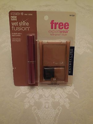 Maybelline Wet Shine Fusion Rose n' Shine #130 with free blush-sunlight #10 - Shine Fusion