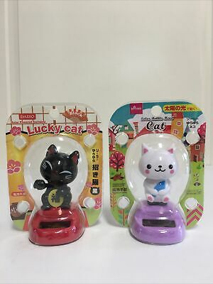 2 Solar Powered Swinging Lucky Cat Black White Bobble Head Figure Maneki Neko