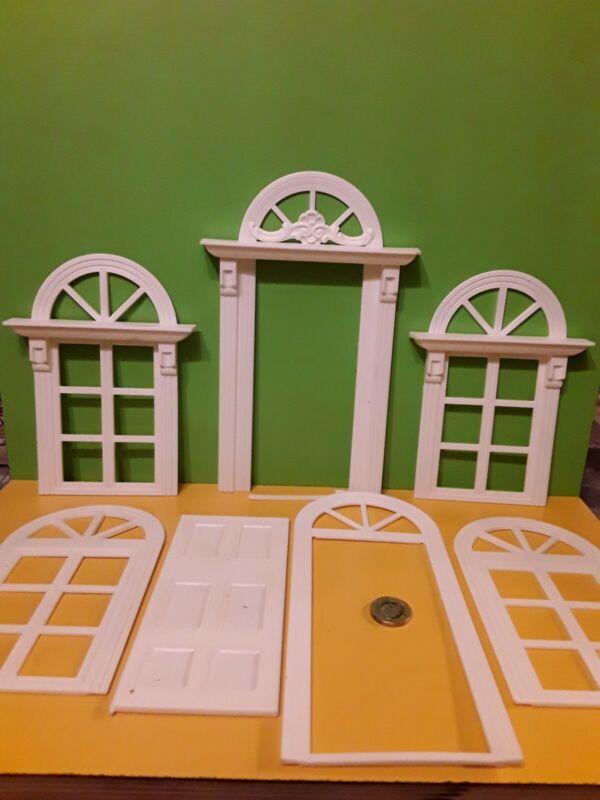 2 Dolls House White Plastic non opening 2 part Windows+1  3 part door :12 Scale