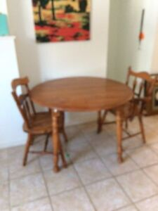 Wood table 2 chairs
