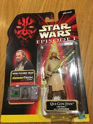 Hasbro Star Wars Episode 1 Qui-Gon Jinn Figure With Comm Tech Chip 1999