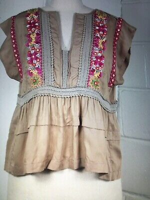 NWT ANTHROPOLOGIE SIZE LARGE EMBROIDERED BEADED PEASANT TOP BLOUSE