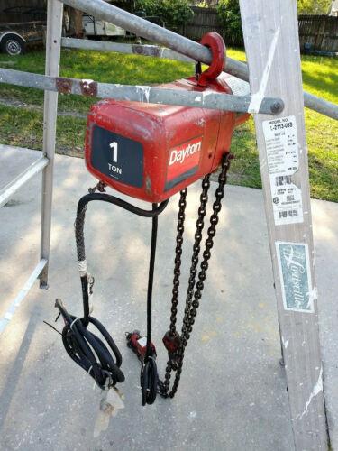 Dayton 1 Ton Electric Chain Hoist 3 Phase up down switch