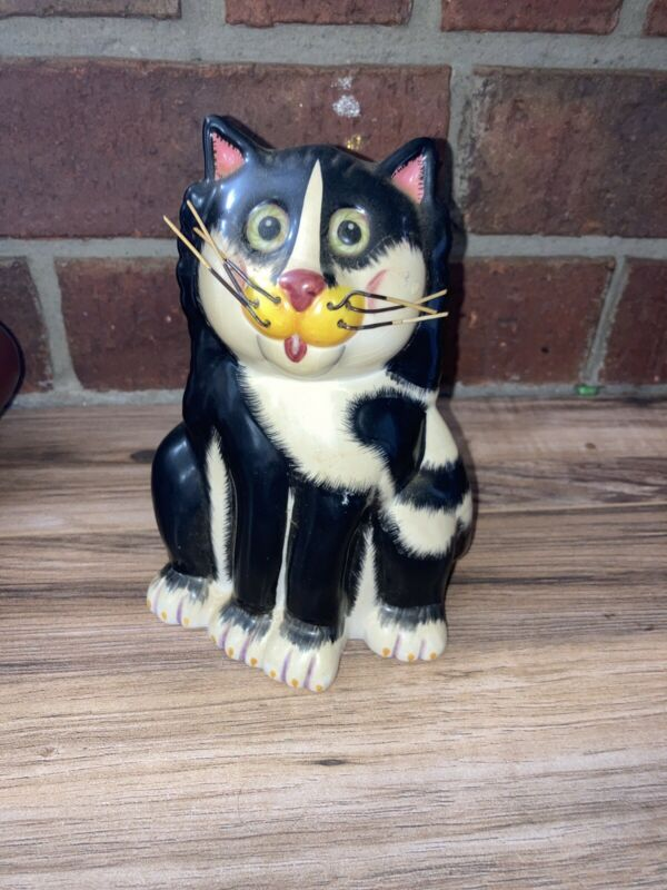 Whimsical Cat Bank Kitty Piggy Bank Wire Whiskers By BELLA CASA GANZ Ceramic EUC