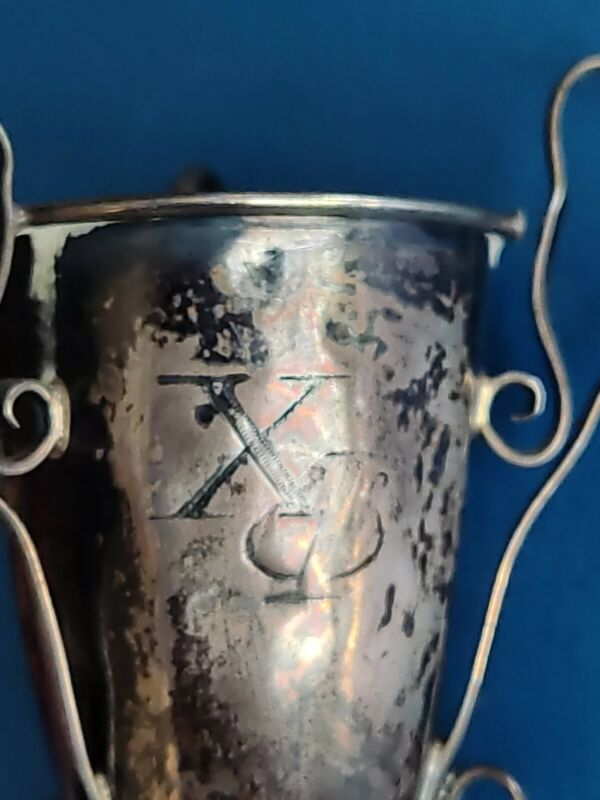 Antique 1906 Sterling Silver Chi Phi Fraternity Tiny Prom Trophy