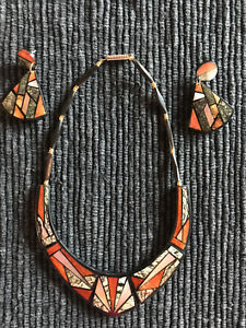 15-Inch Necklace and Earrings of Black Coral, Mother of Pearl