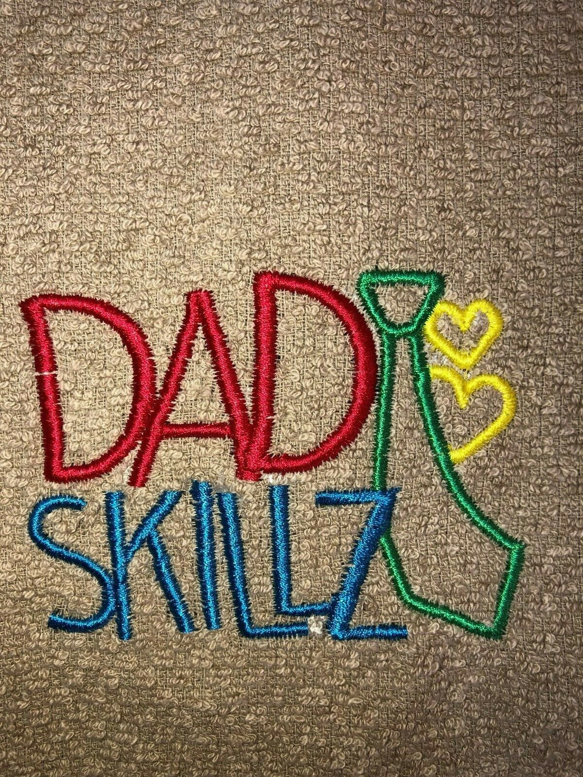 Embroidered  Beige Kitchen Bar Hand Towel  DAD SKILLZ with t