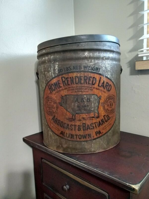 ARBOGAST & BASTIAN LITHOGRAPHED HOME RENDERED LARD TIN ADVERTISING BUCKET - A&B