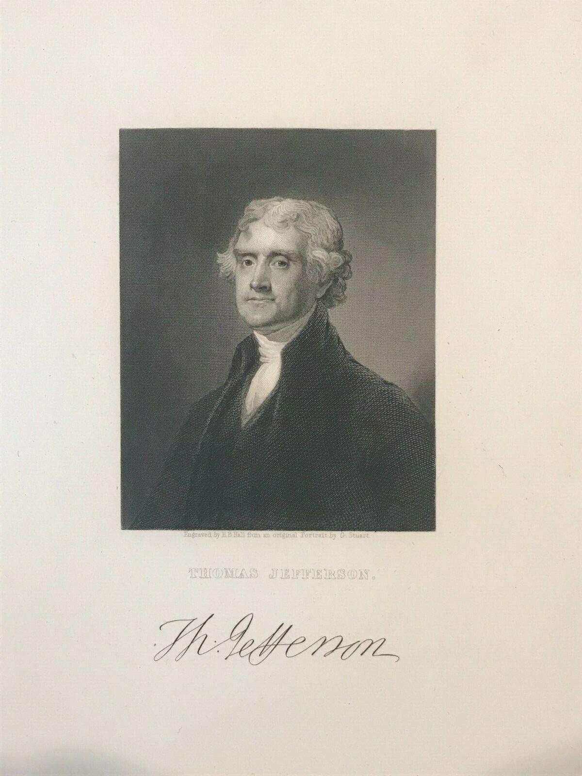 Thomas Jefferson Antique Engravings lot Of Three , Original In Fine Condition - $20.00