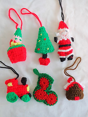 Handmade Christmas Ornaments Set of 6 Crochet Santa Train Tree House Jack in Box
