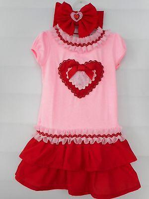 Valentine's Day Dress with Handmade Ruffles and Matching Headband Toddler Girls