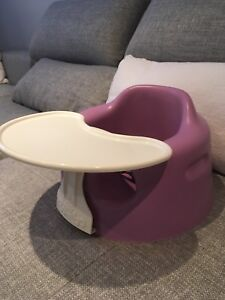 Lilac bumbo chair with tray and safety straps