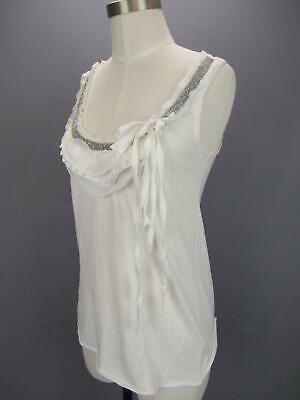 C Keer Anthropologie White Scoop Neck Sleeveless Silver Beaded Top Small NWT