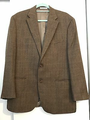 Lauren Ralph Lauren Men's Sport Coat 100% Blazer Wool Houndstooth 42 R Brown