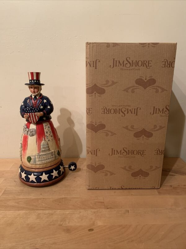 """Jim Shore """"Freedom Forever"""" #4044669Uncle Sam w/ Rotating Monument - MUSICAL"""