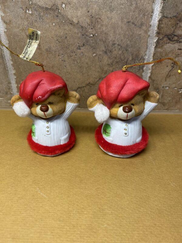 "Vtg Jasco Bisque Sleepy Teddy Bear Bell Christmas Ornament Taiwan Figurine 3"""