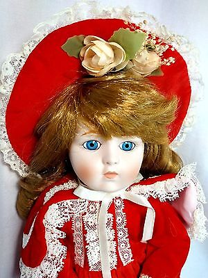 """Dynasty Collection QVC Vintage Sabrina Red Flower 14"""" Porcelain Bisque Doll MIB"""