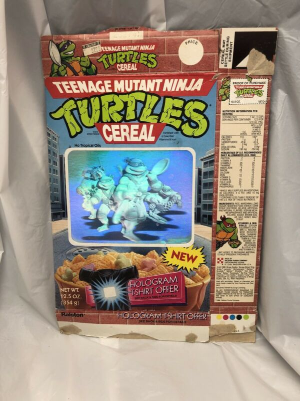 Vintage 1989 Ralston Teenage Mutant Ninja Turtles Used Cereal Box Hologram Shirt