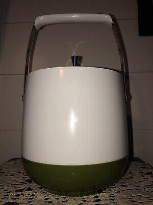 MID CENTURY MODERN Ice Bucket Made in USA  Avocado Green White & Chrome Perfect (Green Ice Bucket)