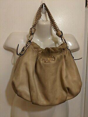 Prada milano women's Vintage Leather Bag beige gold tone diy (b6)