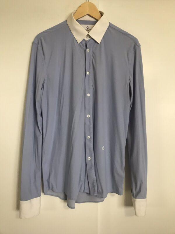CAVALLERIA TOSCANA Mens Blue Guibert Show Shirt Size 41 XL Technical Jersey