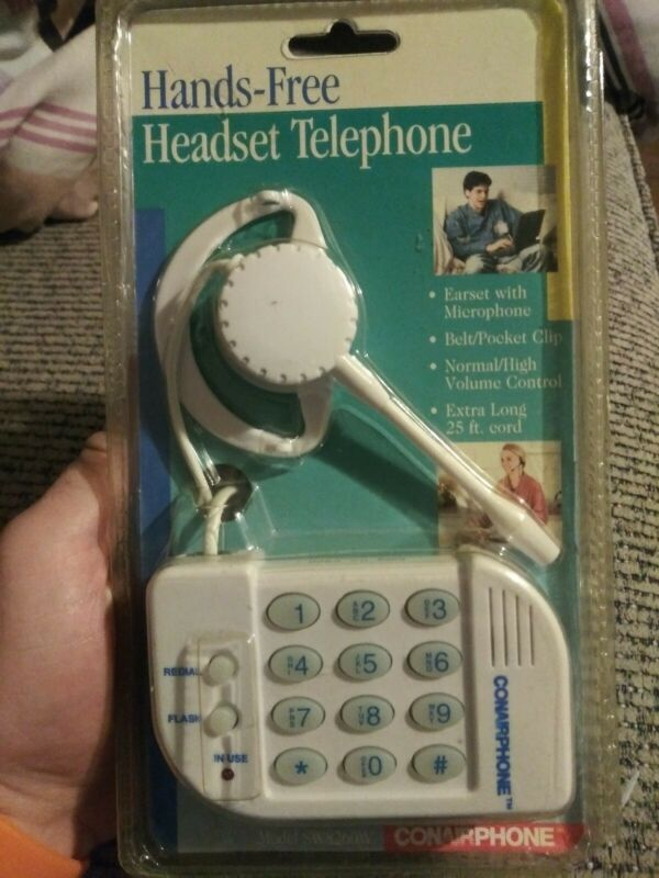 Vintage CONAIR Phone Hands-Free Headset Telephone & Belt/Pocket Clip NIP White