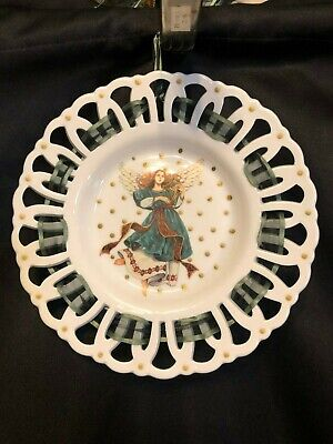 Milk Glass Hanging Decorative Plate with Painted Angel & Reticulated Rim Milk Glass Hanging