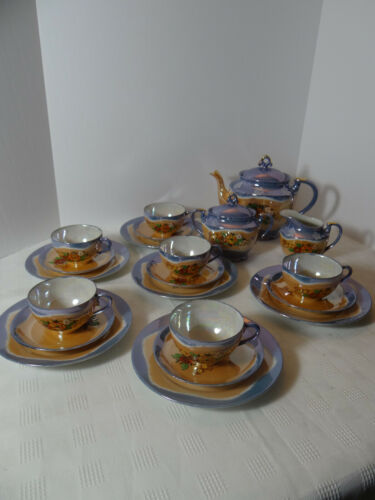 Vintage Japan Chikaramachi Lusterware Peach & Blue Tea Set Service for 6