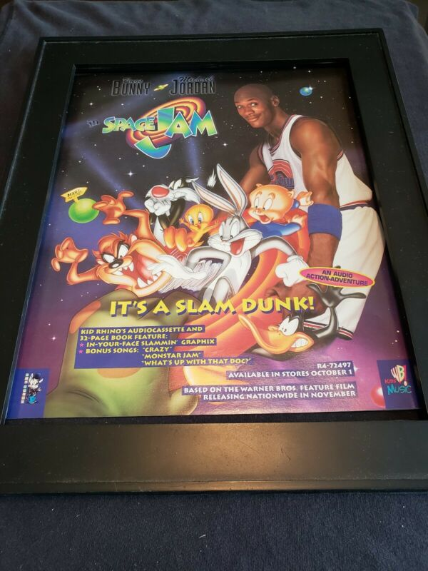 Space Jam Rare Original Kids Soundtrack Promo Poster Ad Framed!