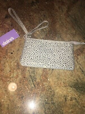 New Claires Silver Shimmering Glitter Wallet Clutch Wristlet