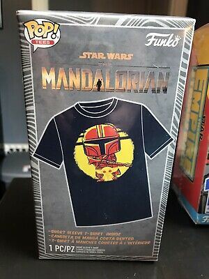 Funko Pop Tees Star Wars THE MANDALORIAN W/ Baby Yoda The Child T-Shirt Size M