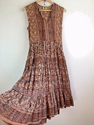 Original Vintage Boho 70s Indian Block Printed Cotton Floaty Hippy Dress - MED