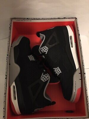 2019 Nike Air Jordan 4 Retro Bred, Mens Size 9.5, Used with Box