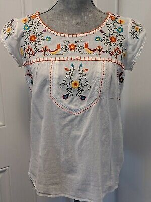 Mexican Embroidered White Cotton Short Cap Sleeve BOHO Blouse Top XS -