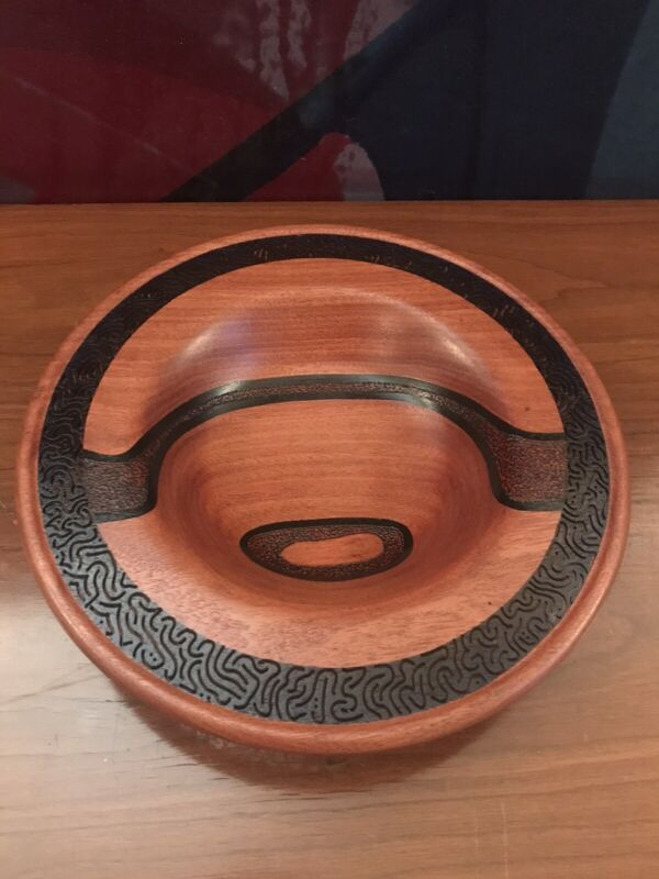 Beautiful Carved Padauk Hand Turned Wood Bowl Thomas Whistance Studio Craft